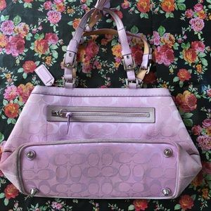 Coach signature logo rosy pink satchel bag.